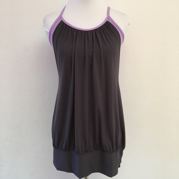 lululemon athletica Tops - Lululemon No Limits Gray and Purple Tank Top 8
